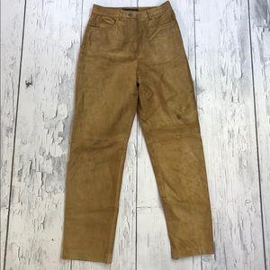 Vtg leather pants women's 4 tan brown Colorway